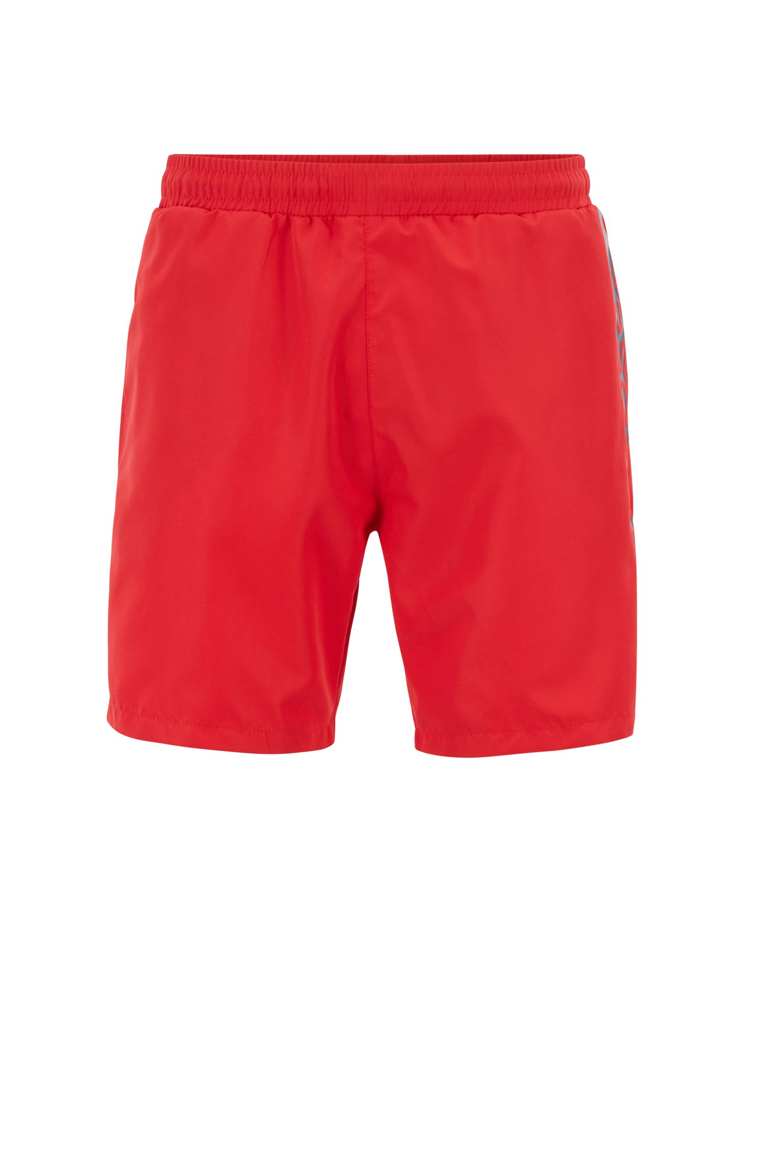Medium-length swim shorts with heat-sealed logo print, Red