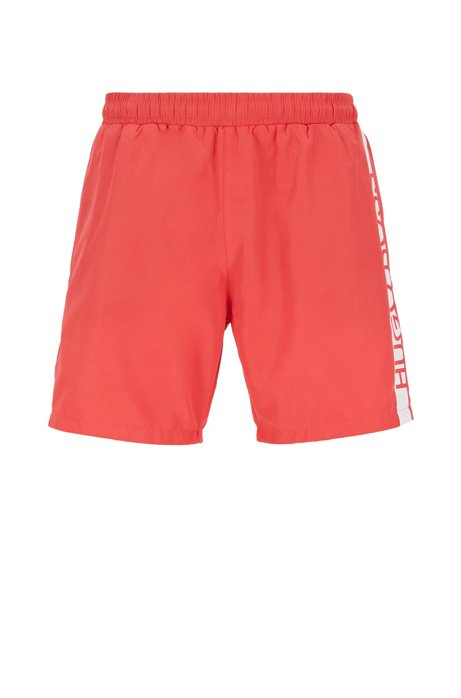 Medium-length swim shorts with heat-sealed logo print, Light Red