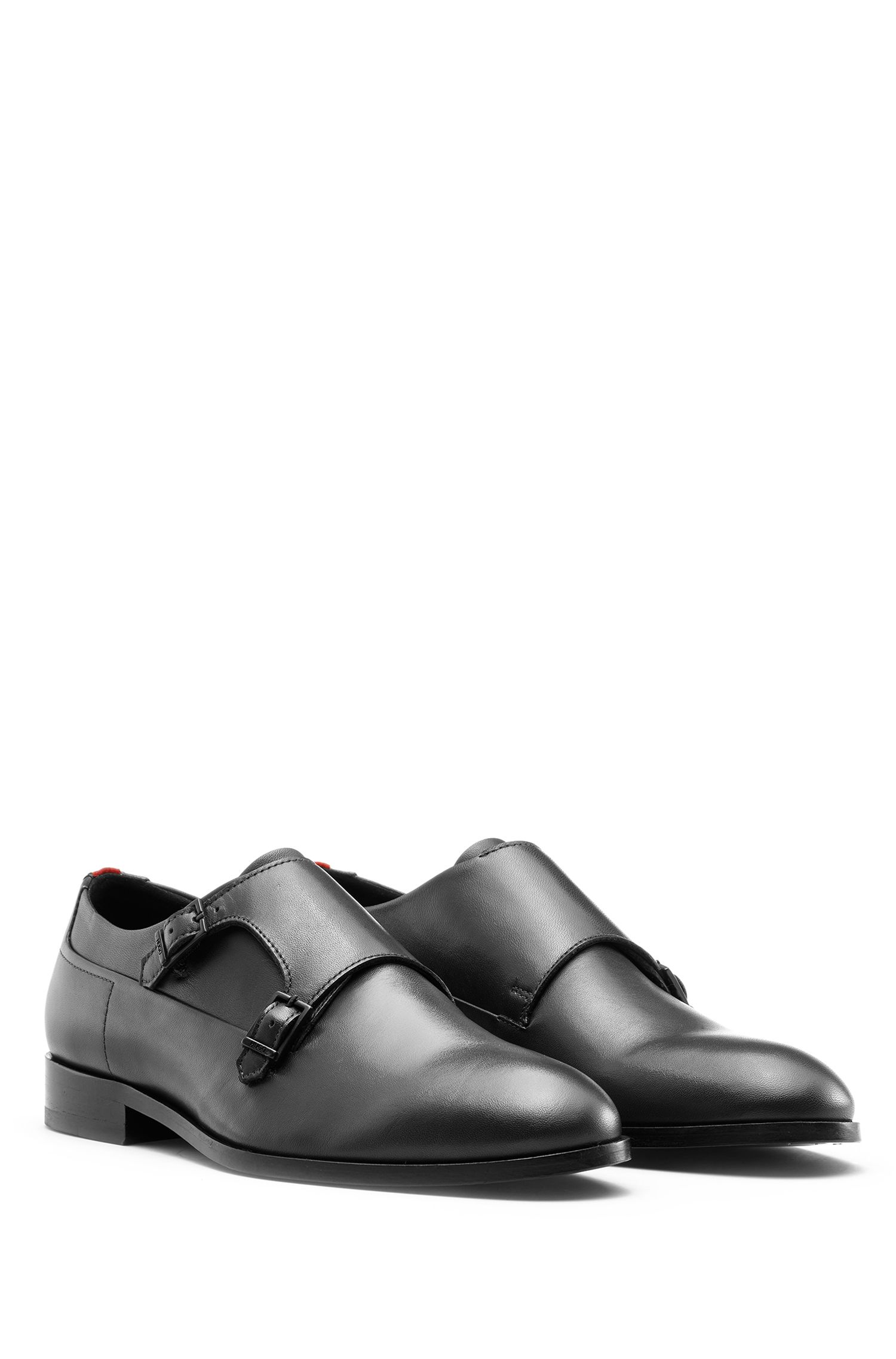Double-monk shoes in box calf leather, Black