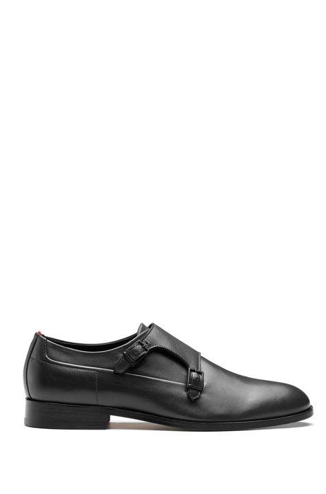 Chaussures double boucle en cuir box-calf, Noir