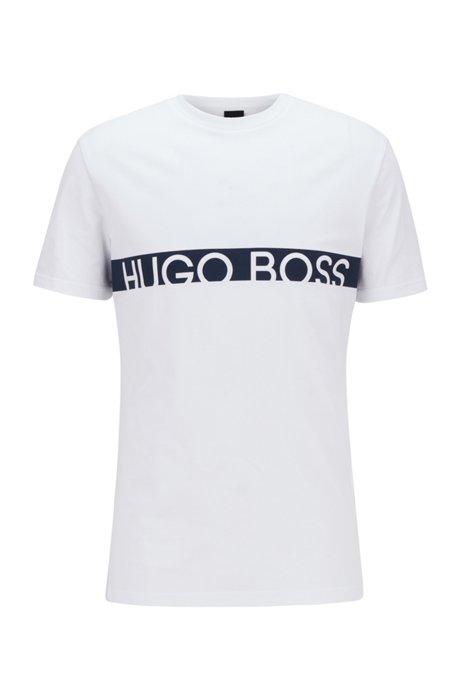 Camiseta slim fit con logo y protección UPF50+, Natural