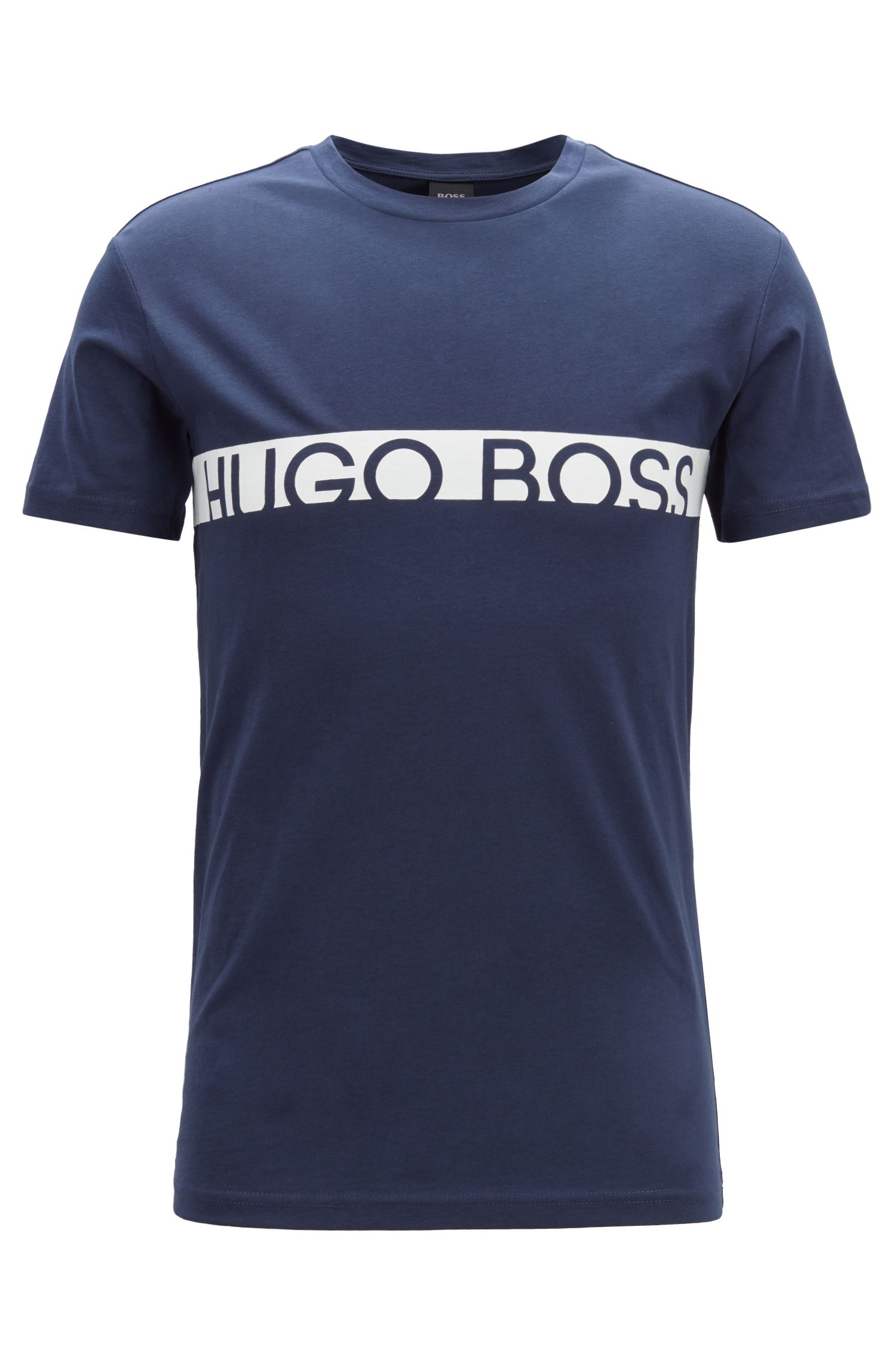 T-shirt slim fit con logo e finitura UPF50+, Blu scuro