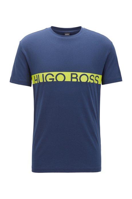 Slim-fit T-shirt met logo en UPF50+-coating, Donkerblauw