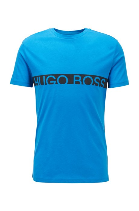 T-shirt slim fit con logo e finitura UPF50+, Blu