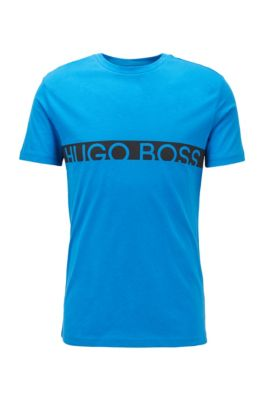 Slim-fit T-shirt met logo en UPF50+-coating, Blauw