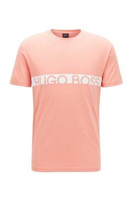 T-shirt slim fit con logo e finitura UPF50+, Rosso chiaro