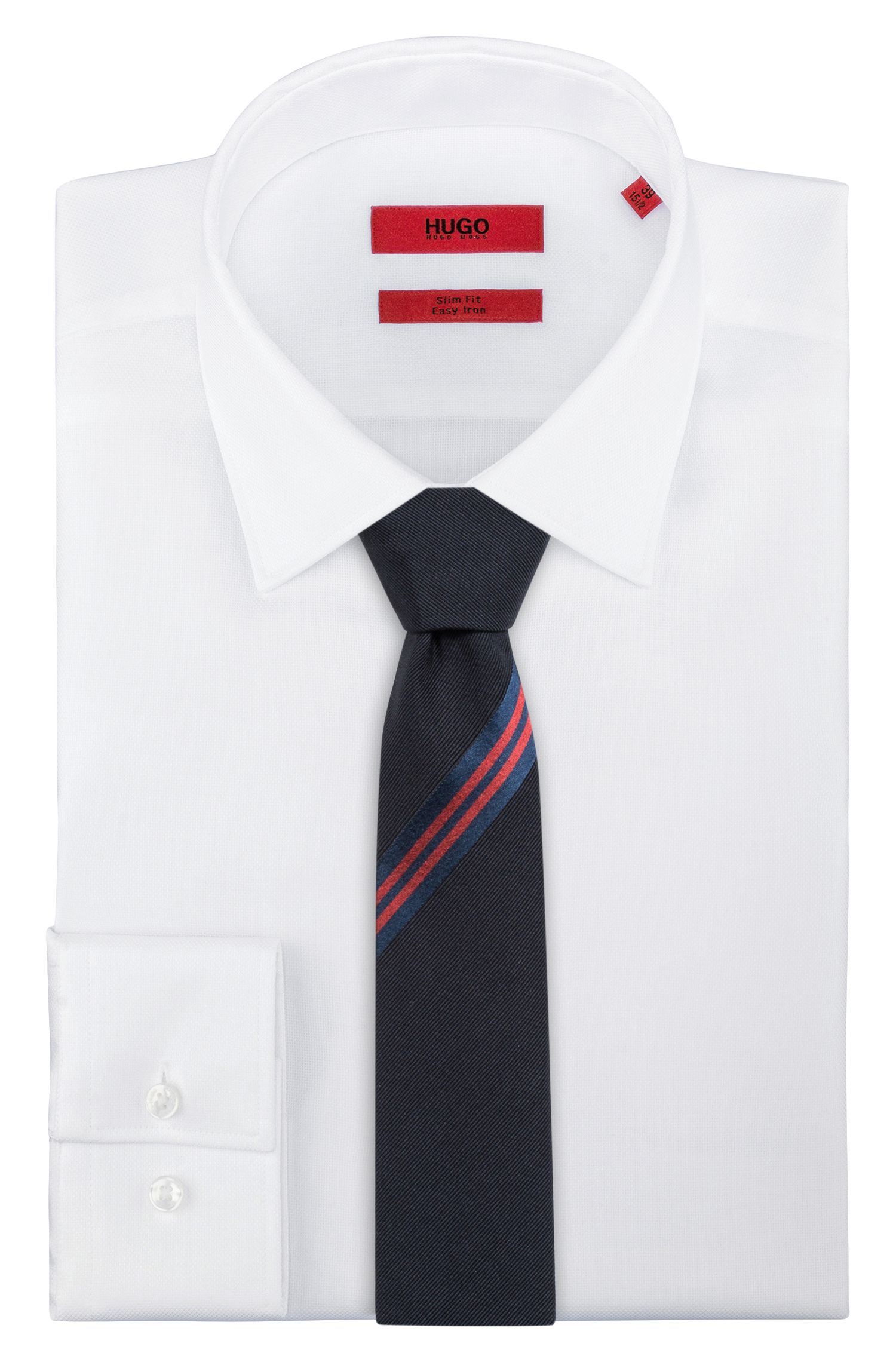 Jacquard tie with two-tone stripe detail, Blue