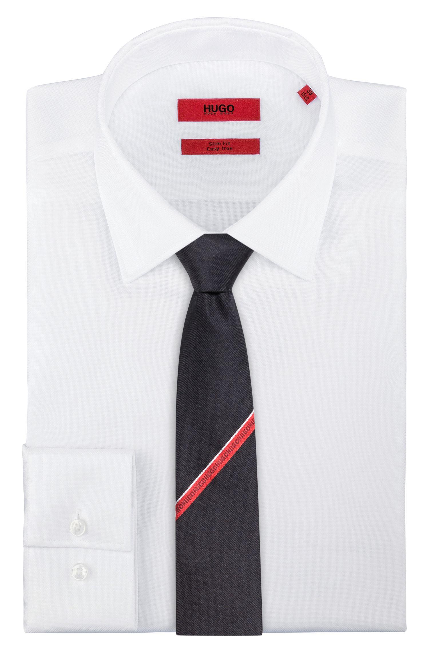 Cravate en soie avec ruban à logo répété, Noir