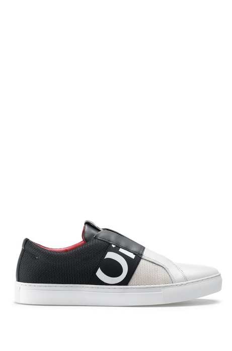 Slip-on trainers in mesh and leather with logo elastic, Black