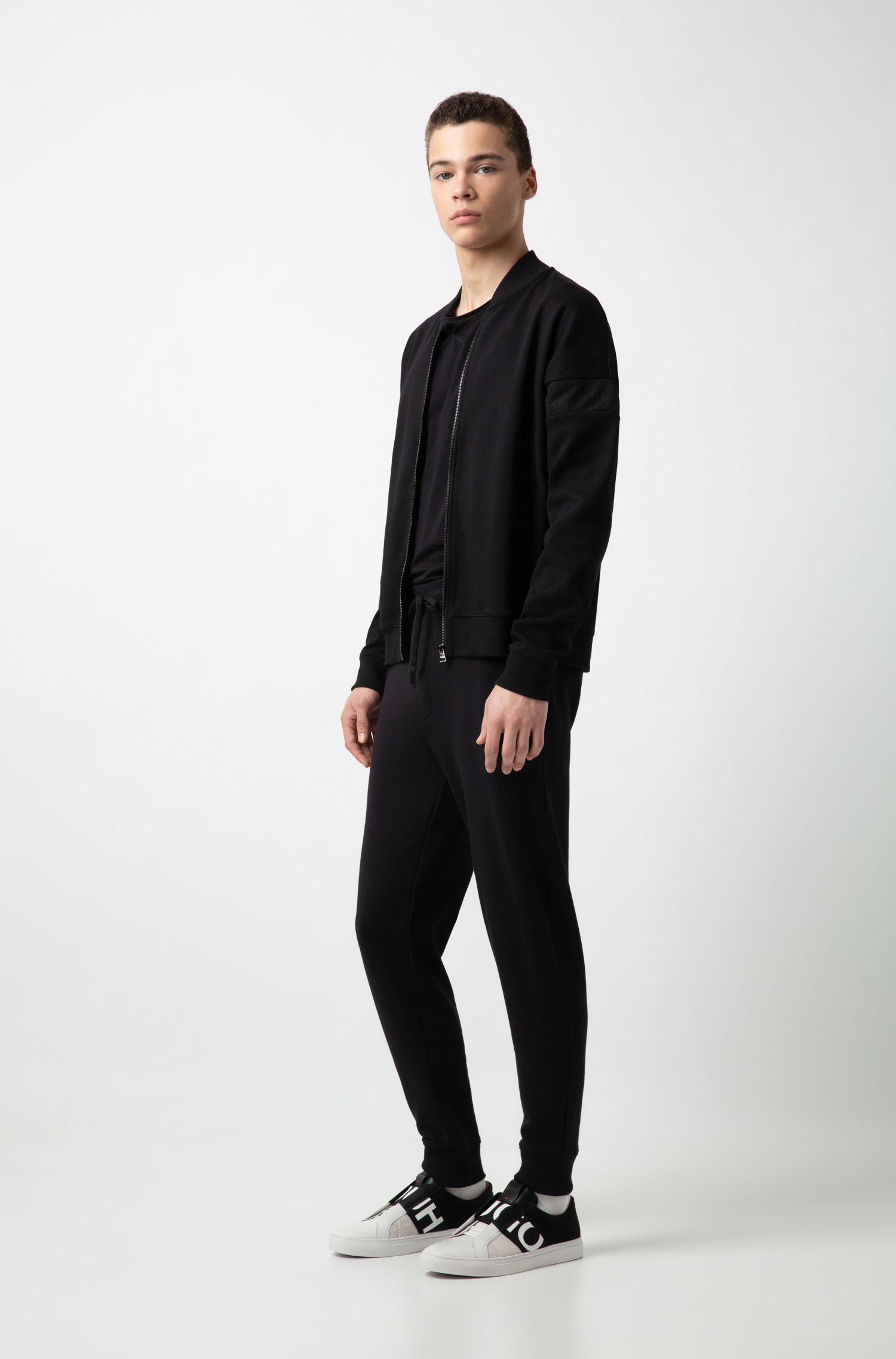 Deportivas sin cordones en malla y piel con logo sobre elástico, Negro