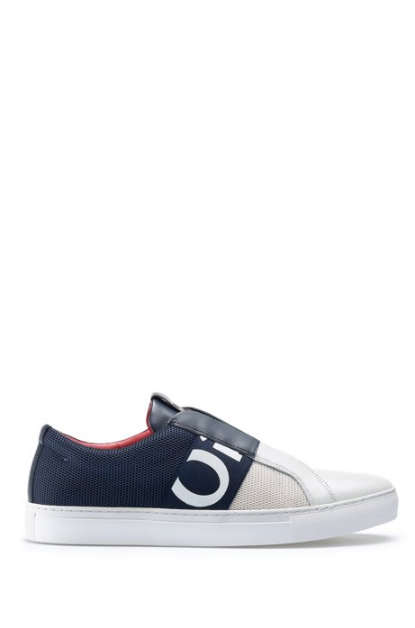 Slip-on trainers in mesh and leather with logo elastic, Blue