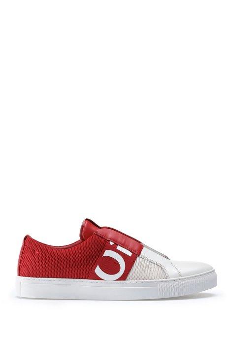 Instapsneakers in mesh en leer met elastische logoband, Rood