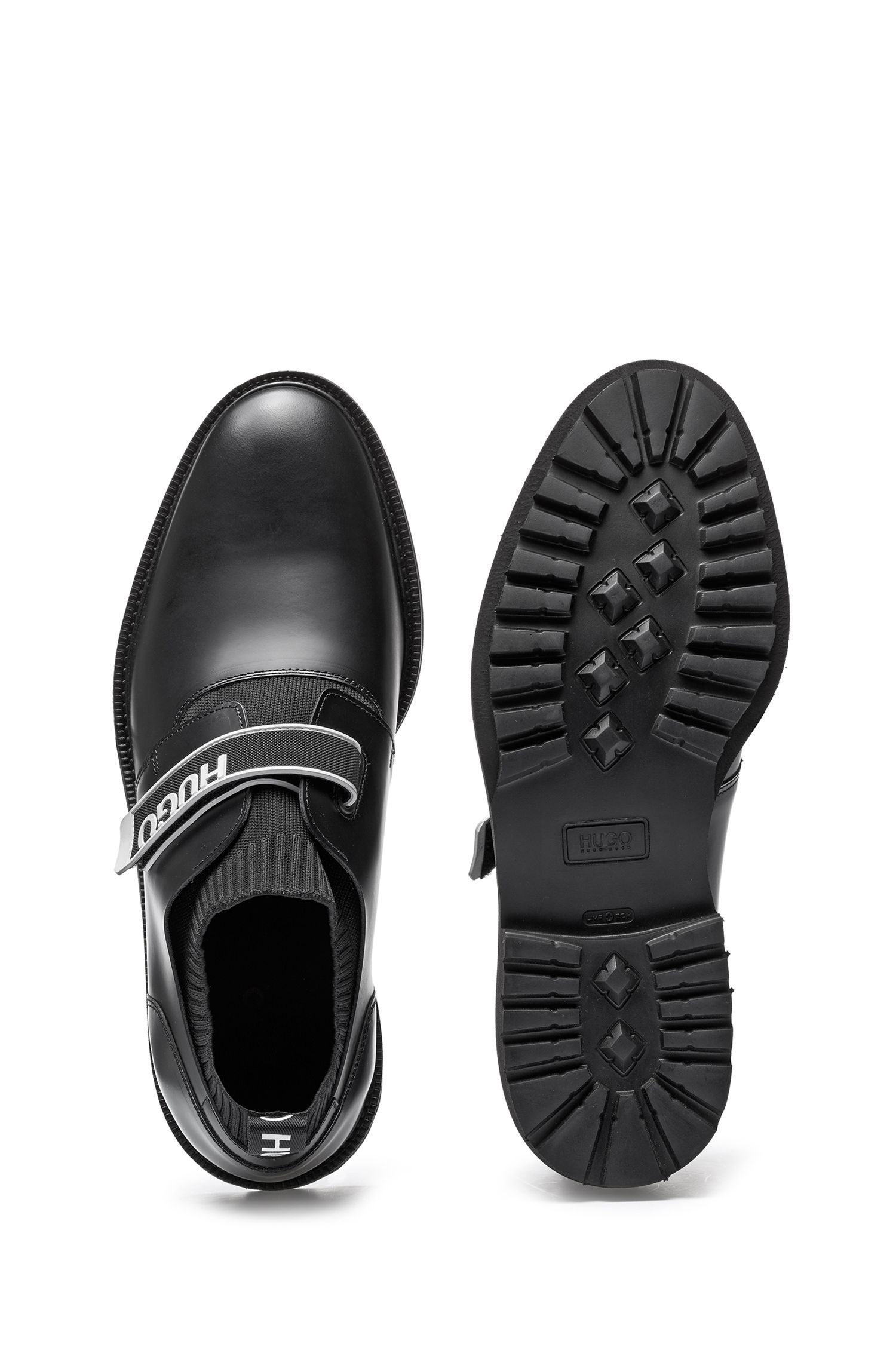 Leather slip-on shoes with branded riptape strap, Black