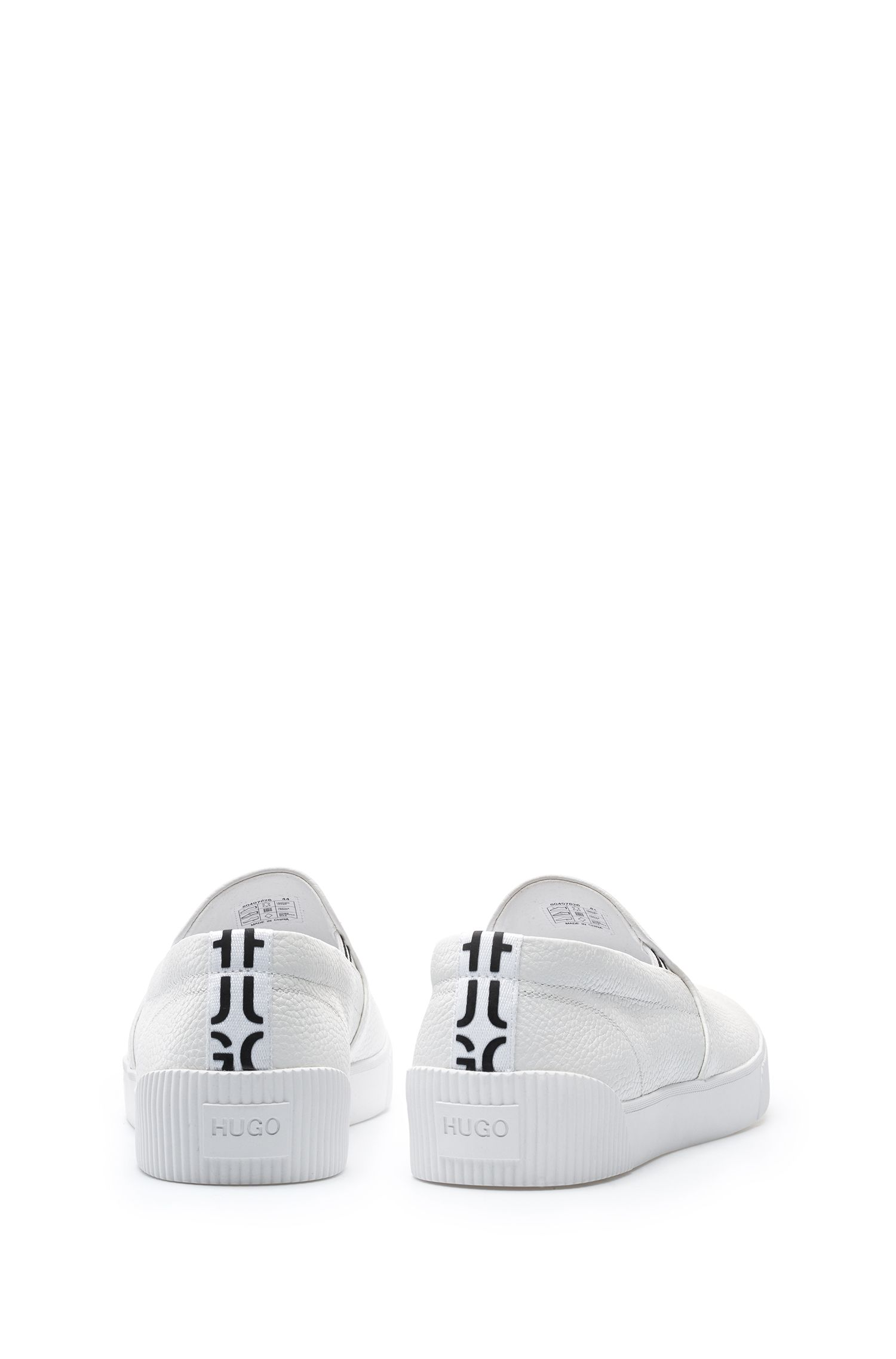 Slip-on trainers with grainy calf-leather uppers, White