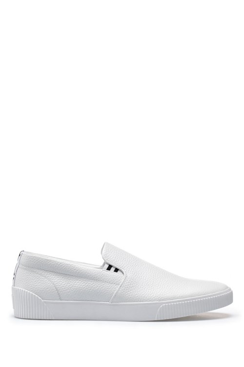 Hugo Boss - Slip-on trainers with grainy calf-leather uppers - 1