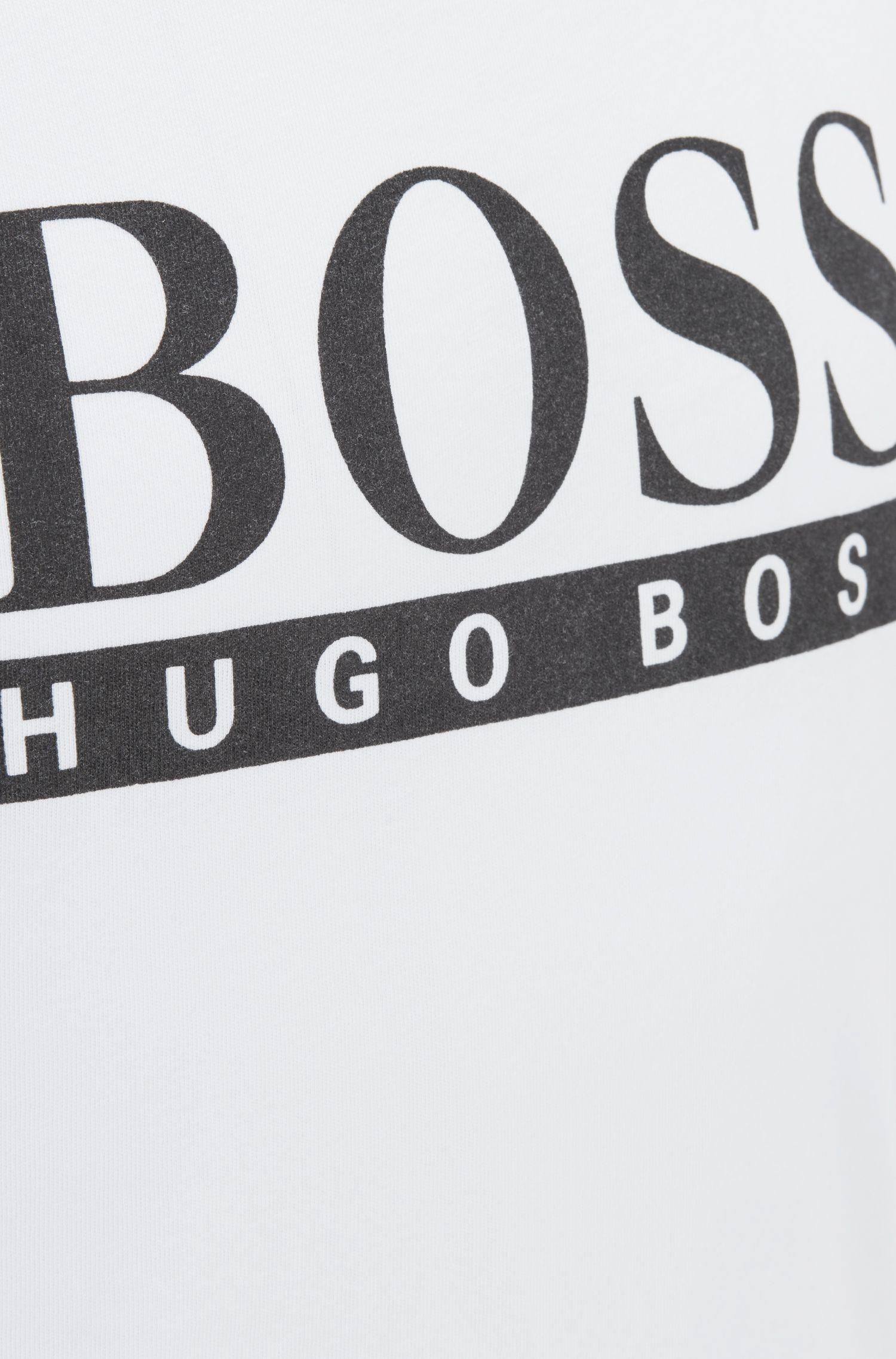 Camiseta de tirantes en puro algodón con logo estampado en contraste, Natural