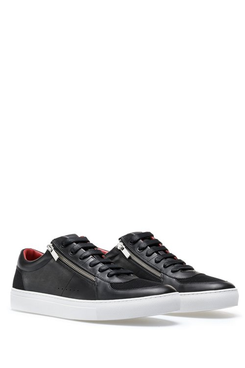 Hugo Boss - Tennis-inspired trainers in calf leather with zip details - 2