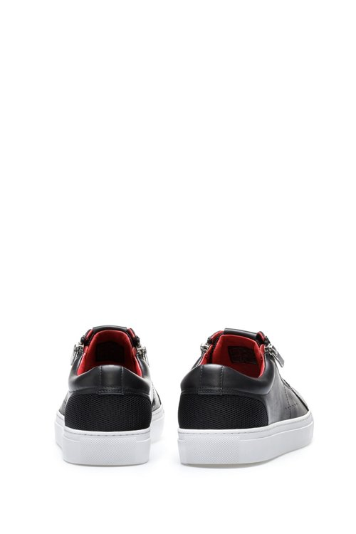 Hugo Boss - Tennis-inspired trainers in calf leather with zip details - 5