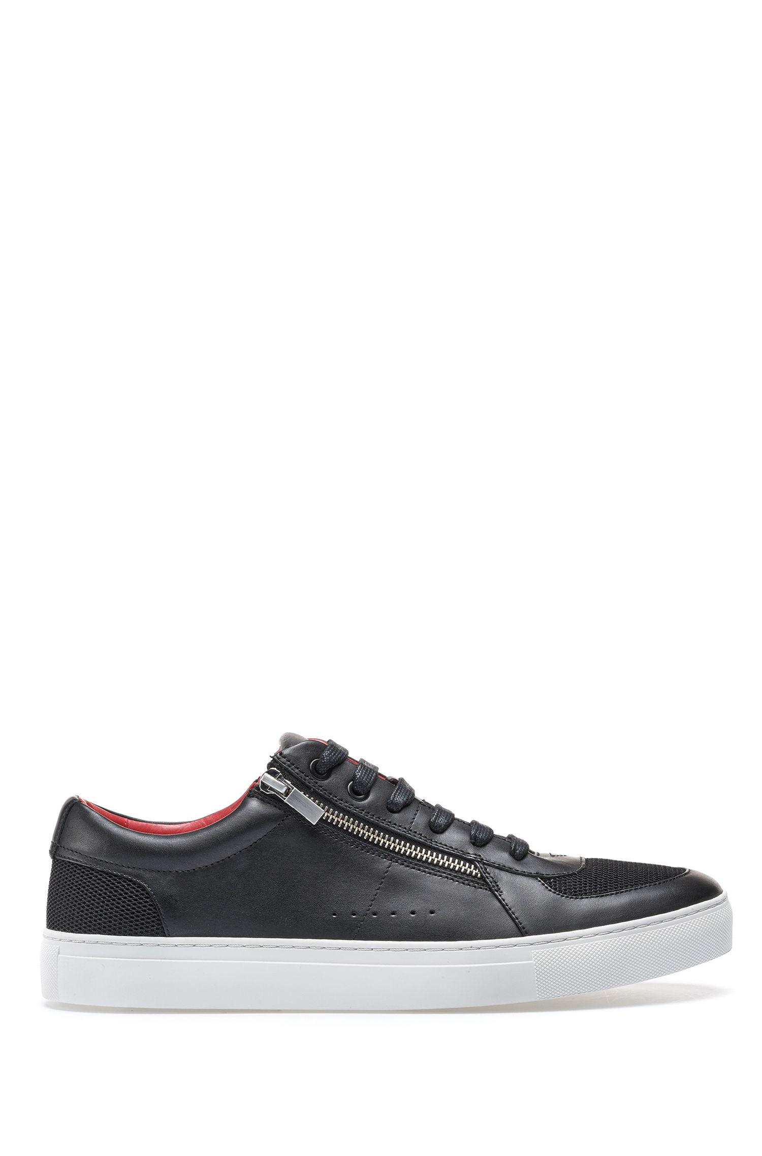 Sneakers aus Leder im Tennis-Stil mit Reißverschlüssen, Schwarz