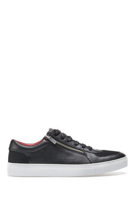 Sneakers in tennisstijl van kalfsleer met ritsdetails, Zwart