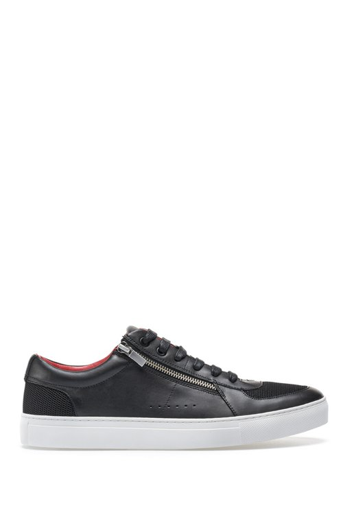 Hugo Boss - Tennis-inspired trainers in calf leather with zip details - 1