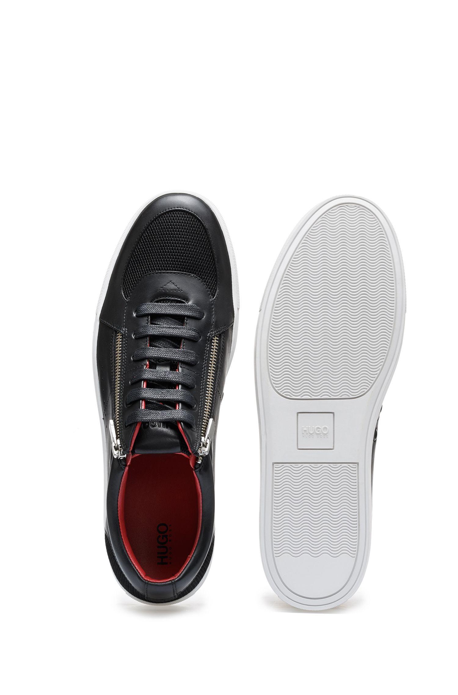 Sneakers in stile tennis in pelle di vitello con zip, Nero