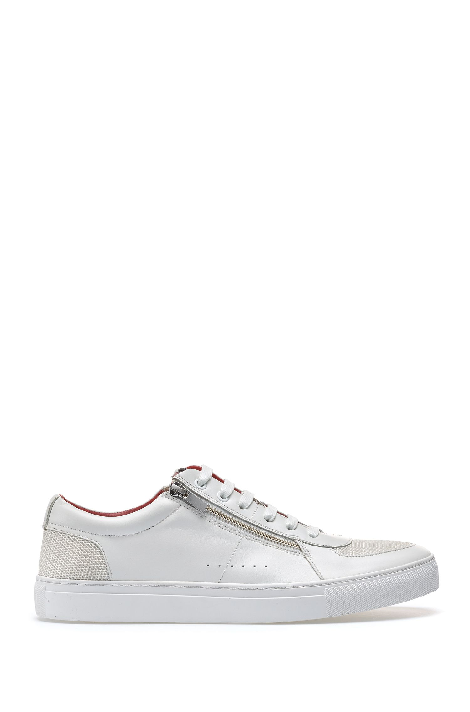 Tennis-inspired trainers in calf leather with zip details, White