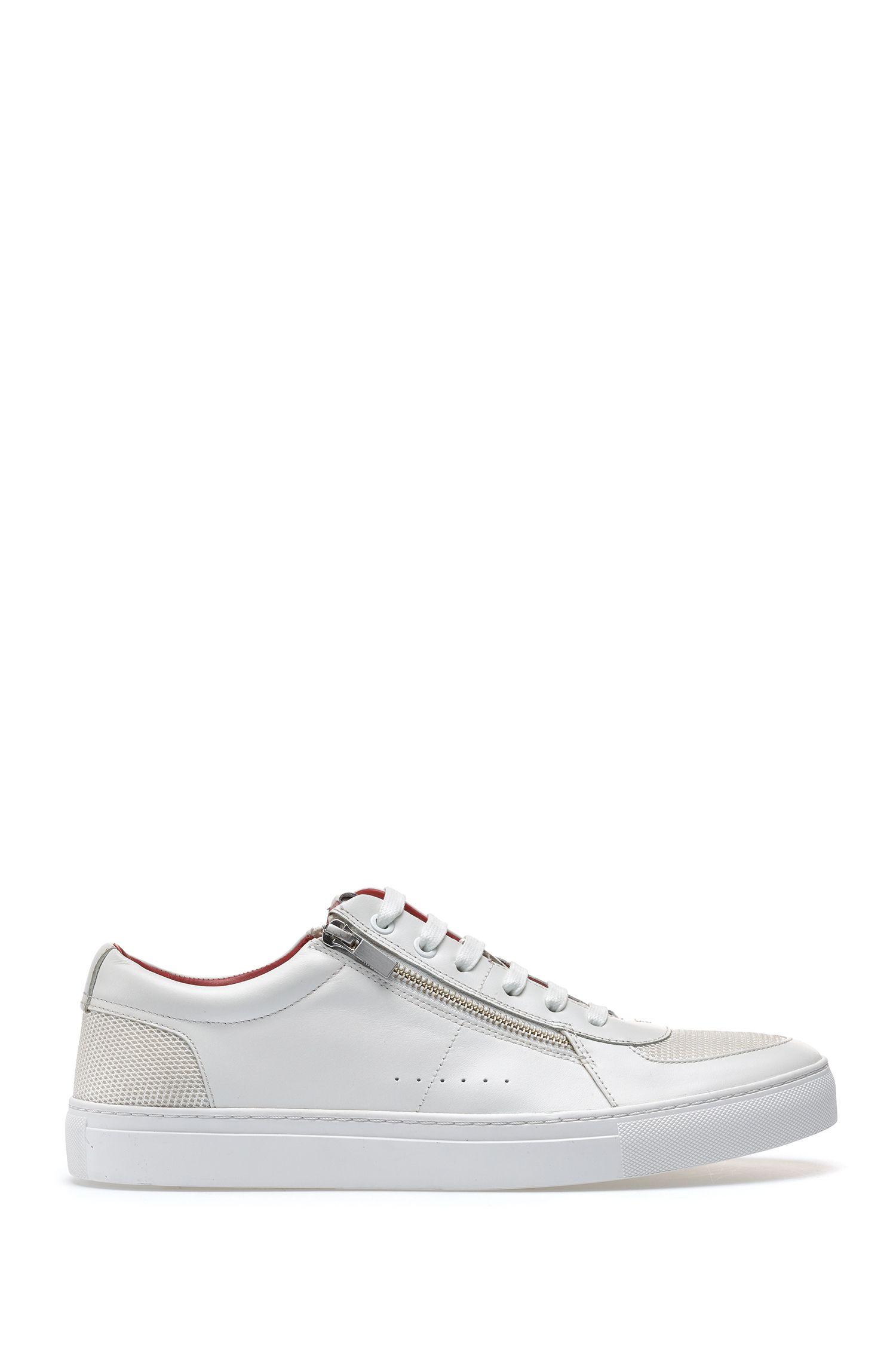 Sneakers aus Leder im Tennis-Stil mit Reißverschlüssen, Weiß