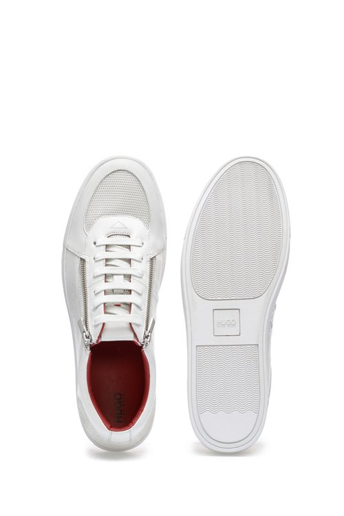 Hugo Boss - Tennis-inspired trainers in calf leather with zip details - 4