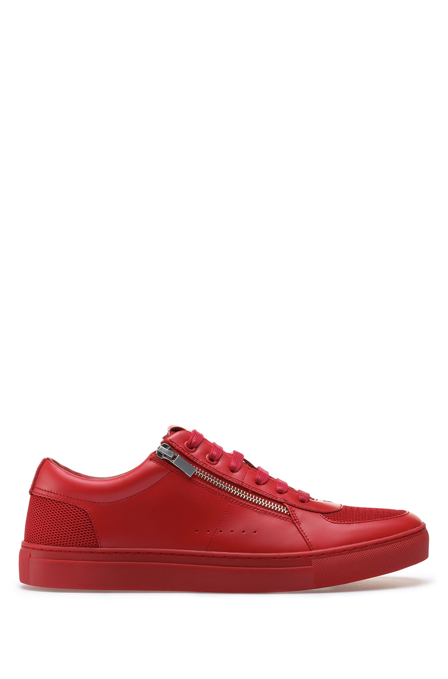 Tennis-inspired trainers in calf leather with zip details, Red