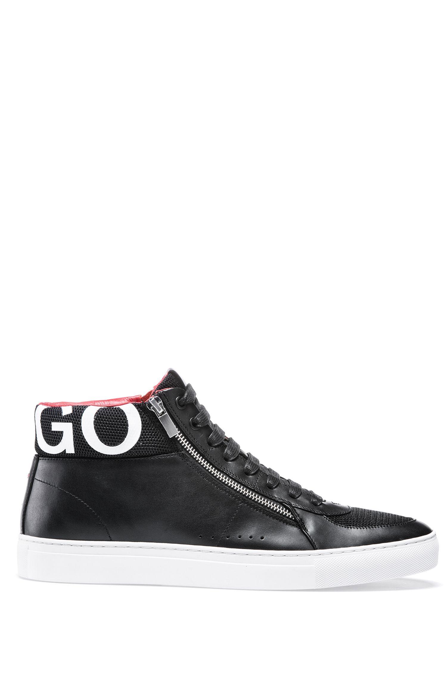 Hightop Sneakers aus Nappaleder mit Logo-Detail, Schwarz