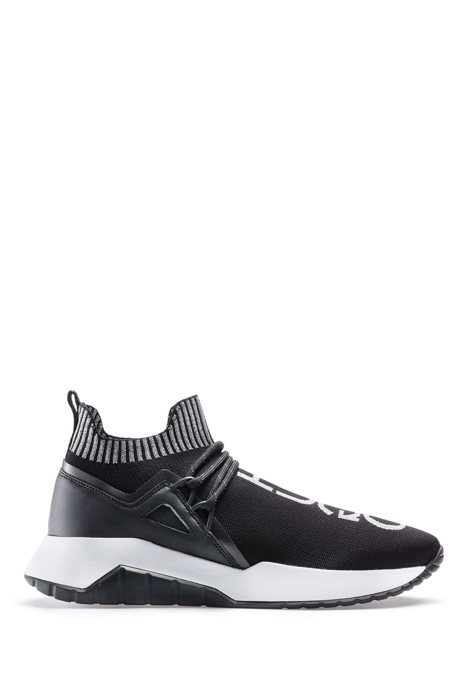 Sneakers mit reflektierendem Logo und Strickeinsatz, Schwarz