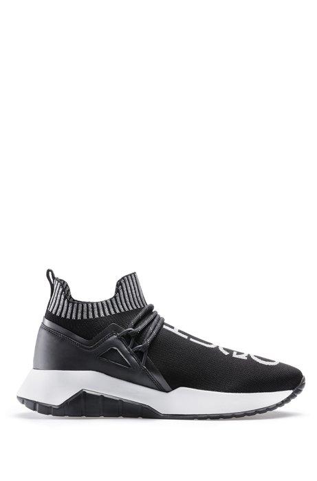Sneakers met gebreide sok en reflecterende logo's, Zwart