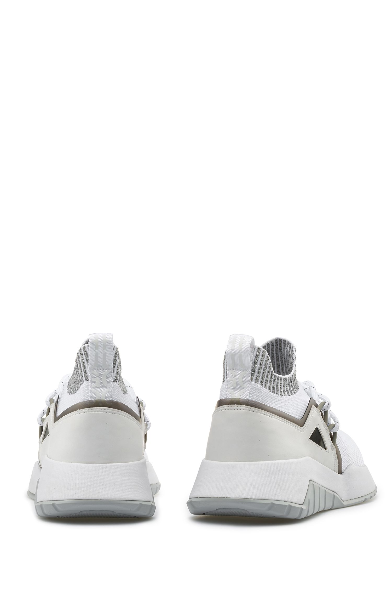 Reflective-logo trainers with knitted sock, White