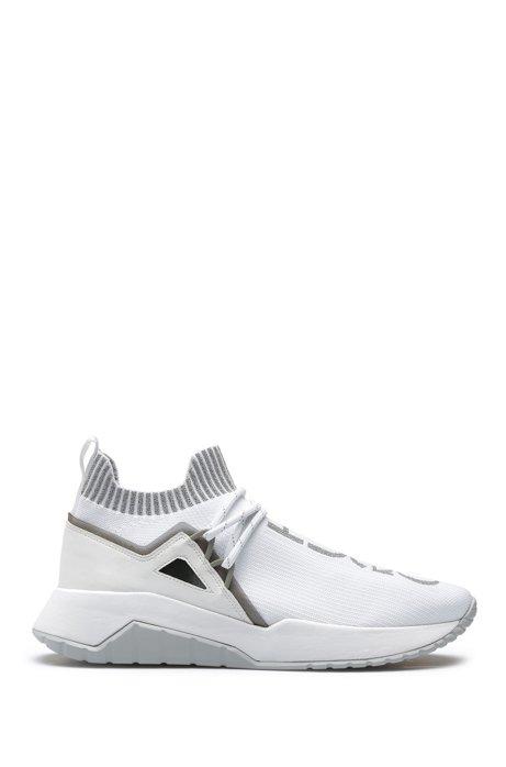 Sneakers met gebreide sok en reflecterende logo's, Wit