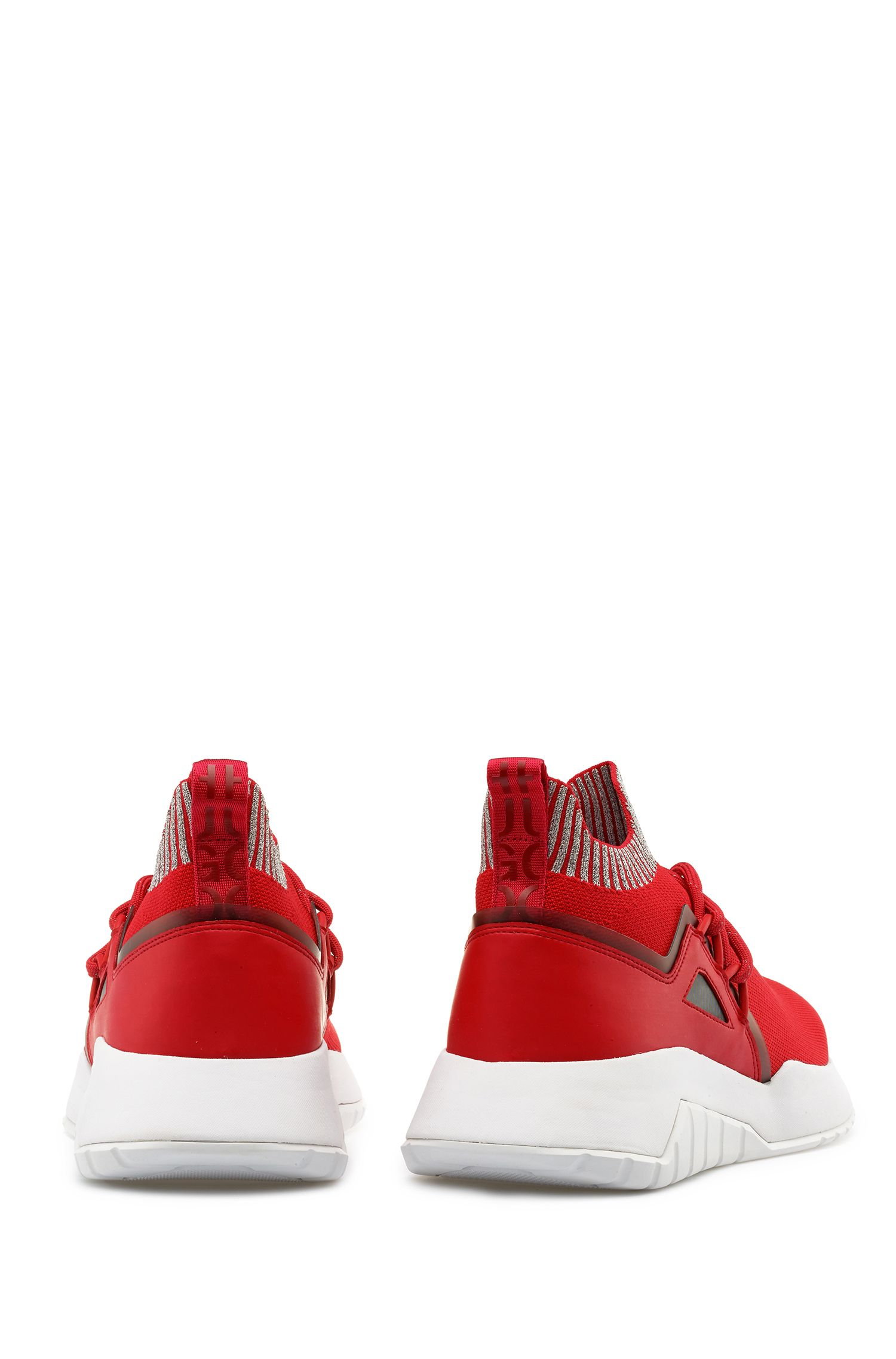 Reflective-logo trainers with knitted sock, Red