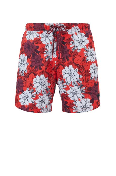 Floral-print swim shorts in quick-dry fabric, Open Red