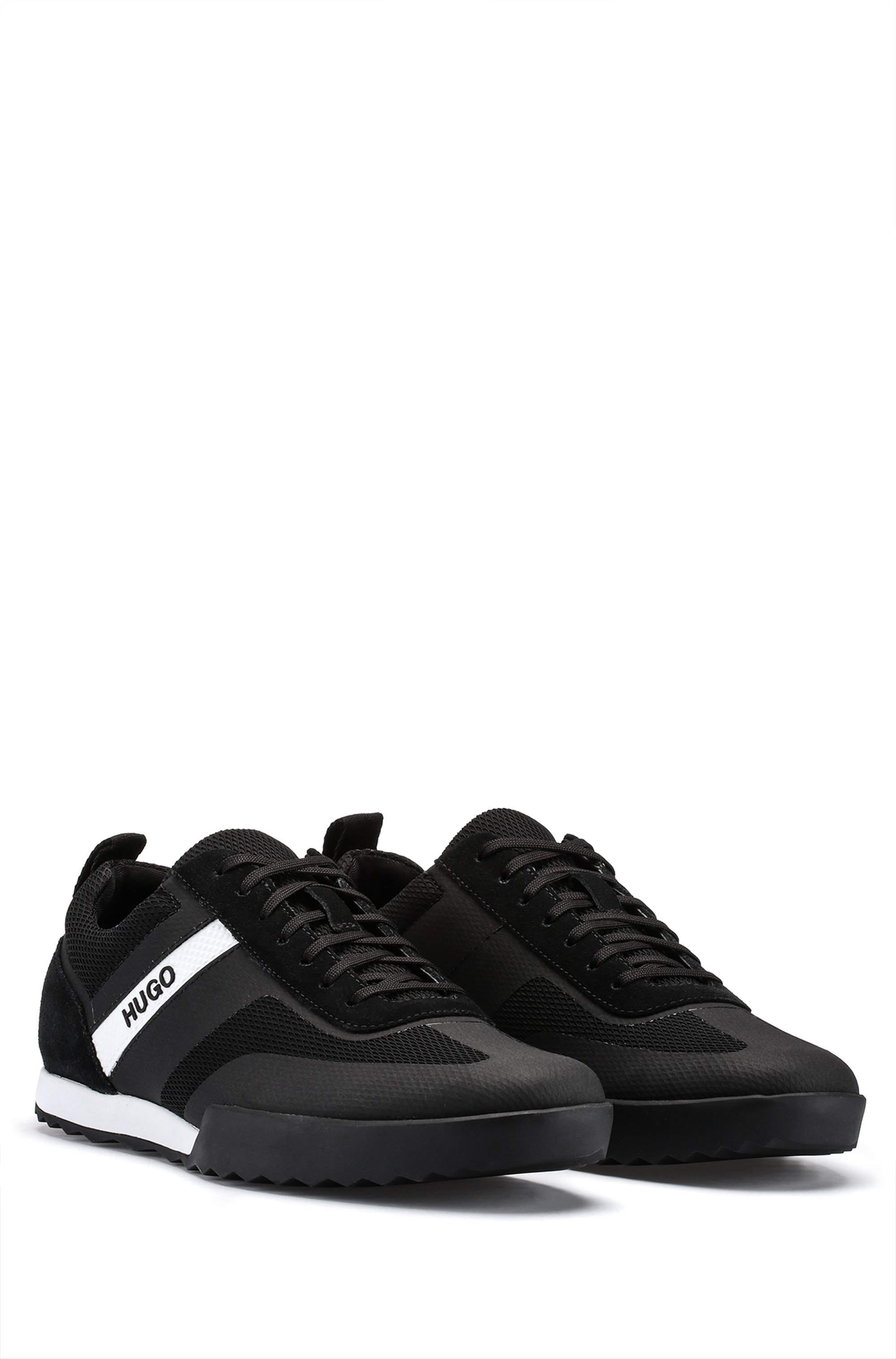 Low-top lace-up trainers in mesh and suede leather