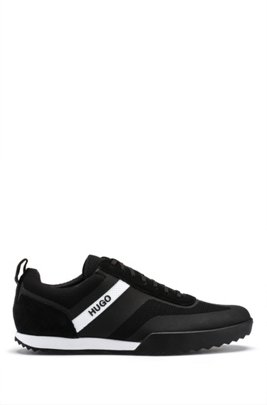 Low-top lace-up trainers in mesh and suede leather, Black