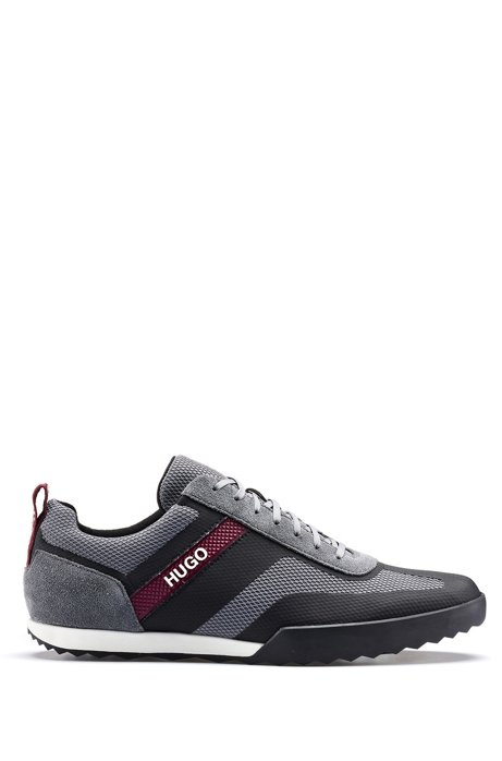 Low-top lace-up trainers in mesh and suede leather, Grey