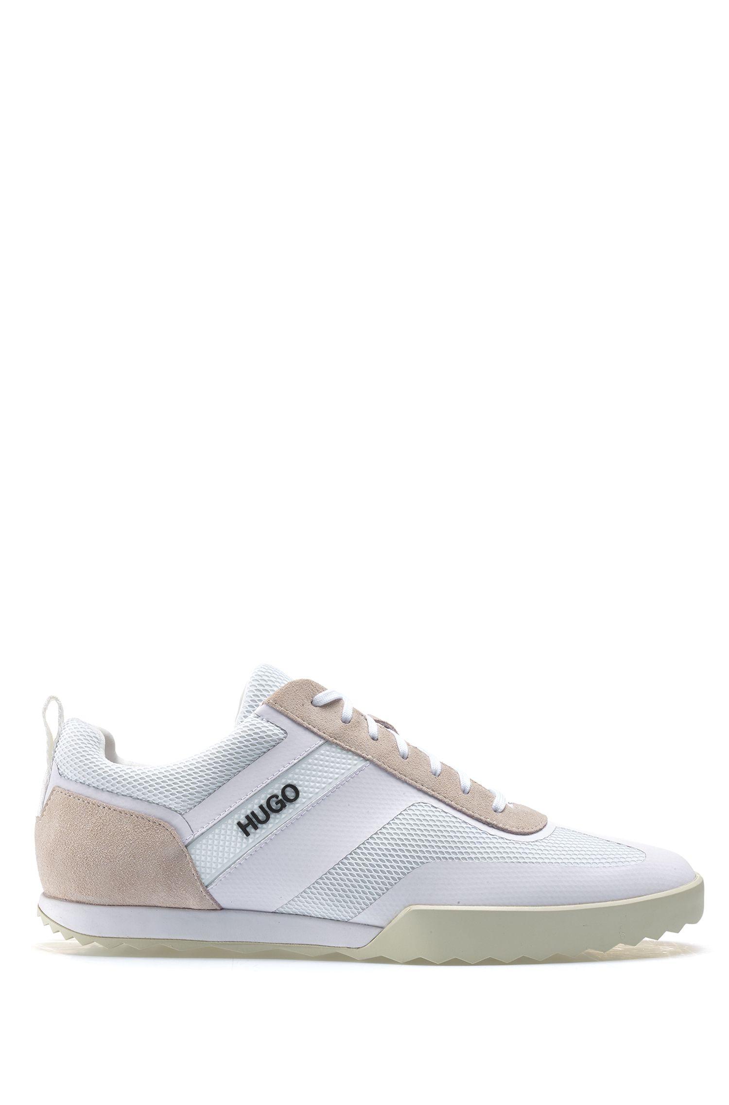 Sneakers aus Mesh und Veloursleder, Weiß