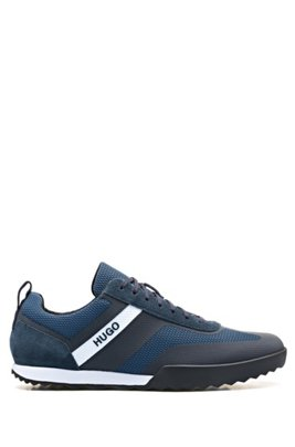 Low-top lace-up trainers in mesh and suede leather, Dark Blue
