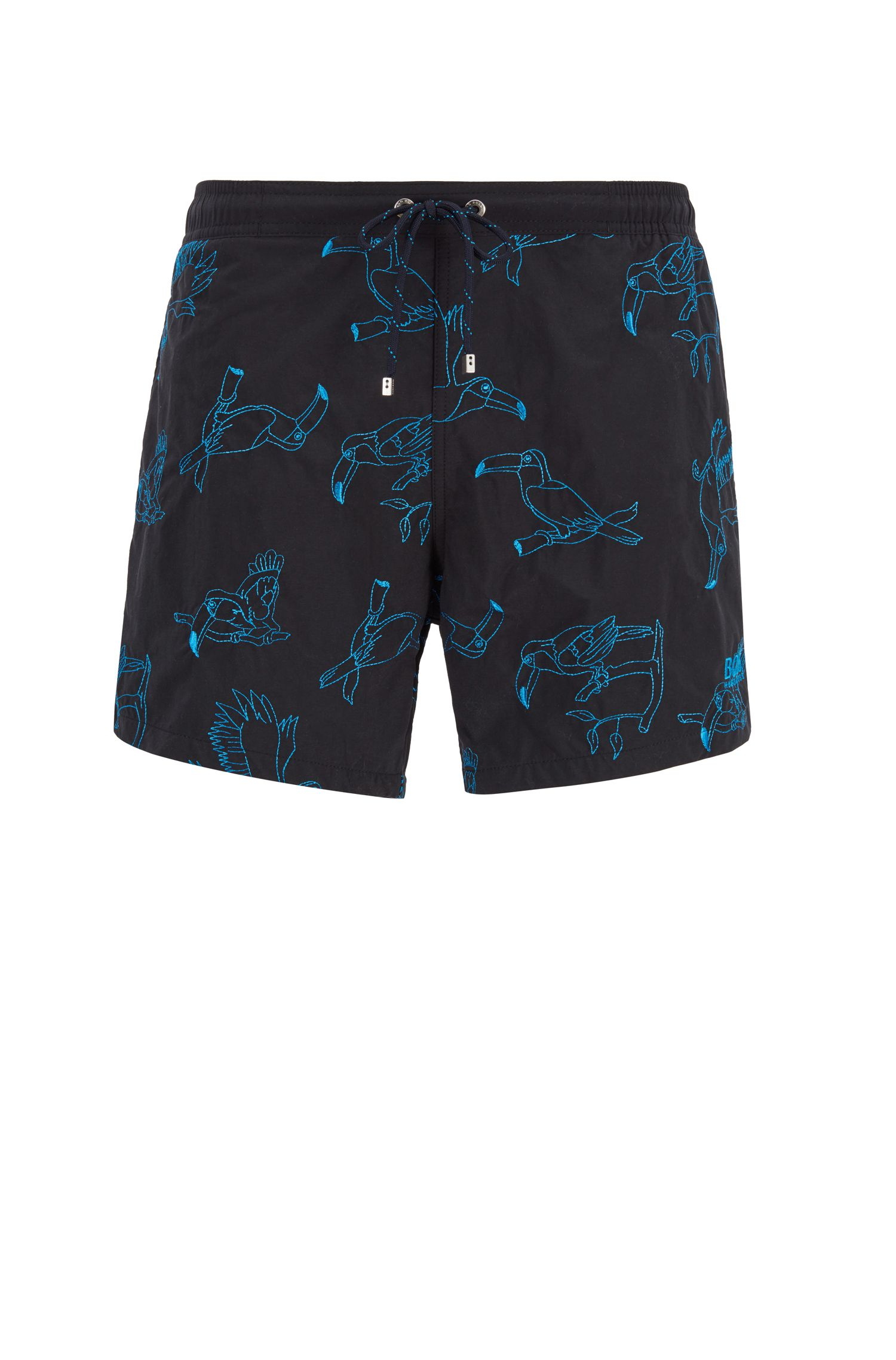 Quick-drying swim shorts with embroidered motif, Black