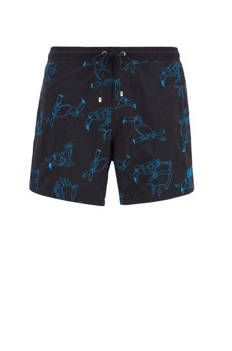 Bañador tipo shorts de secado rápido con motivo bordado, Negro