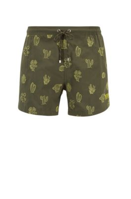 Bañador tipo shorts de secado rápido con motivo bordado, Verde oscuro