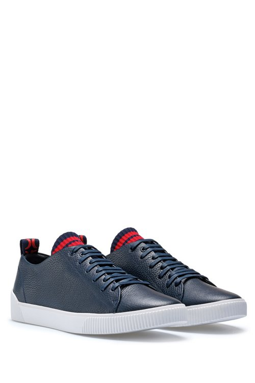 Hugo Boss - Sneakers aus genarbtem Leder mit origineller Schnürung - 2