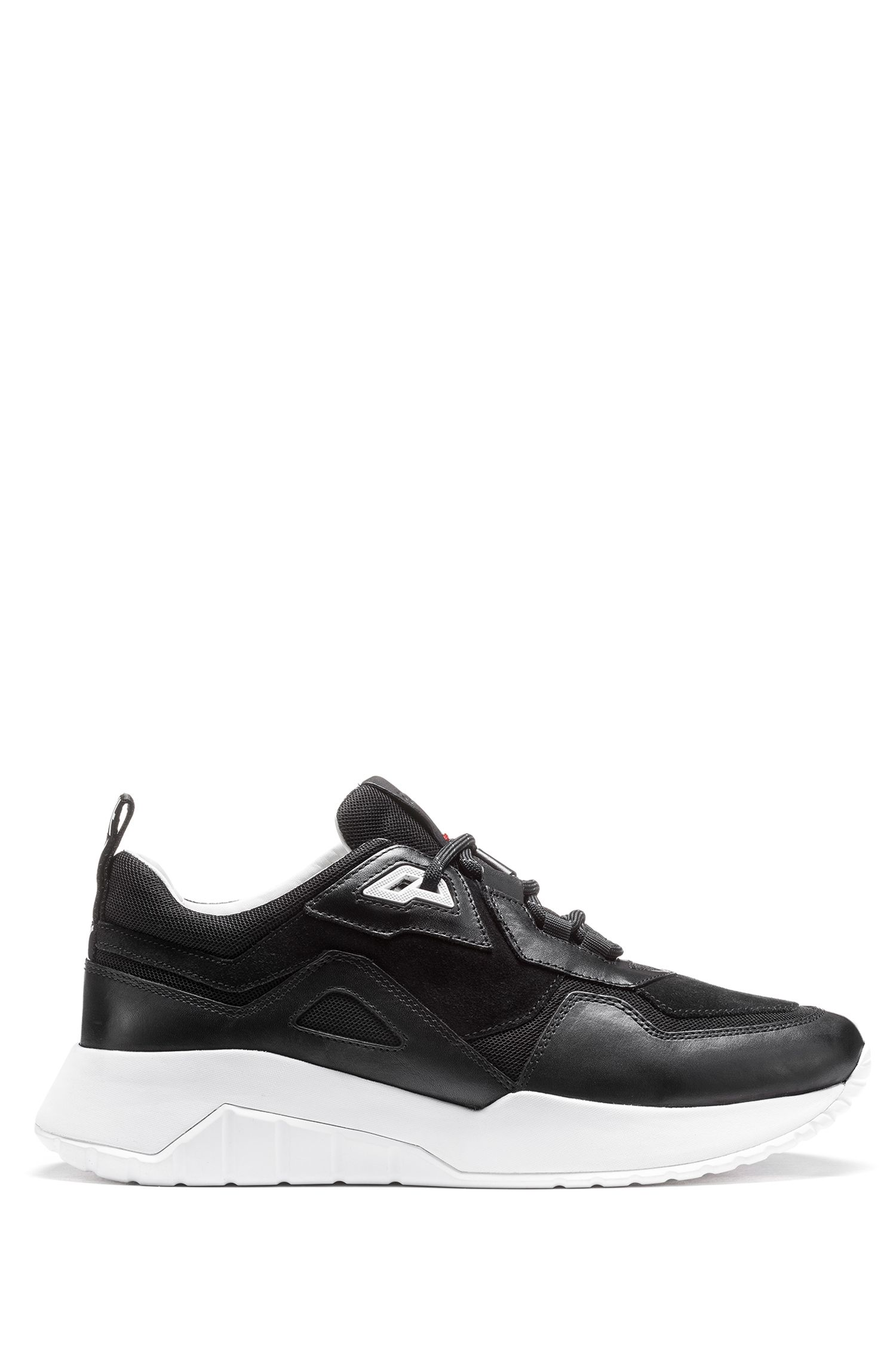 Mixed-material chunky trainers with logo loop tape, Black