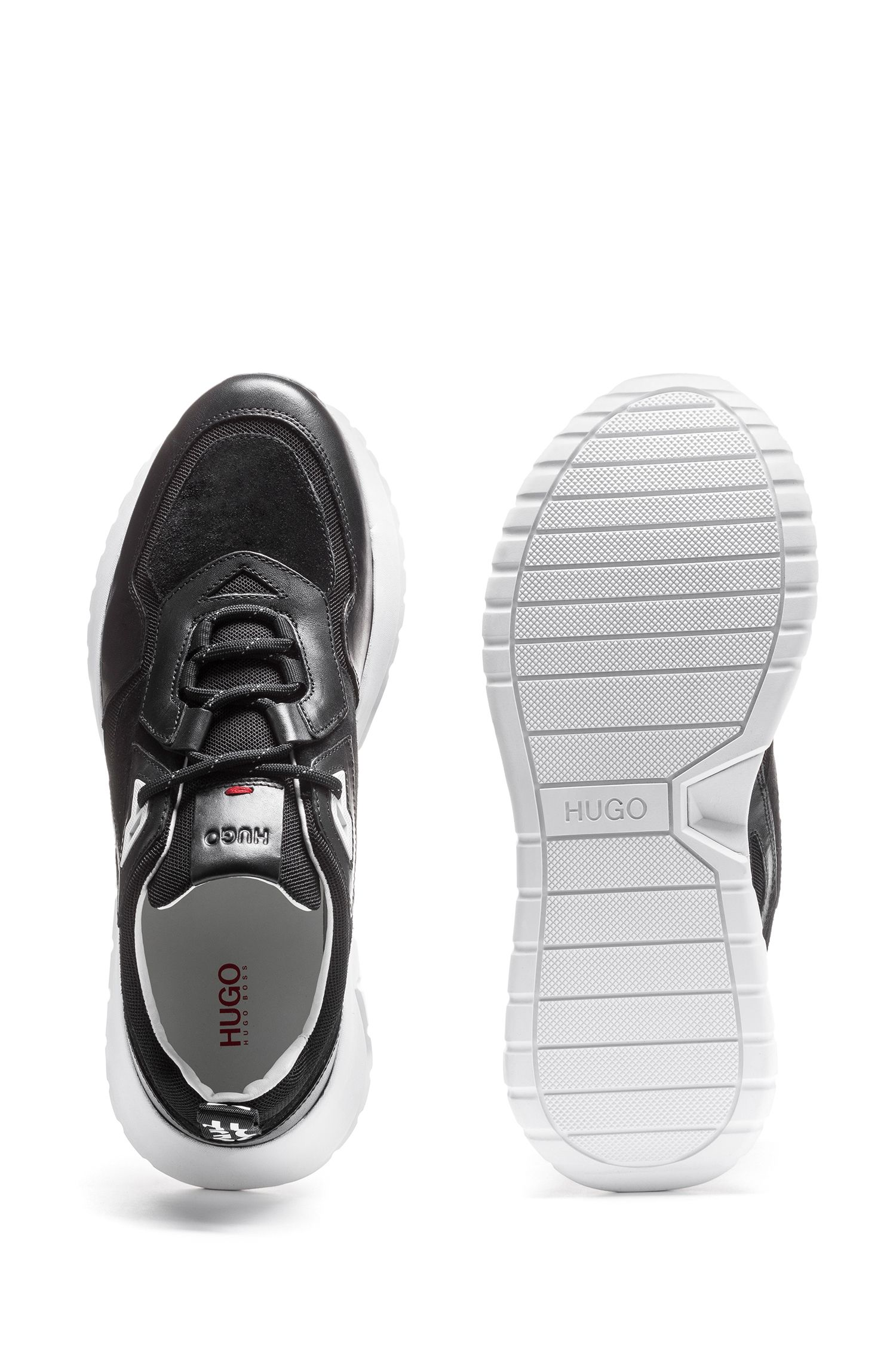 Hugo Boss - Mixed-material chunky trainers with logo loop tape - 4