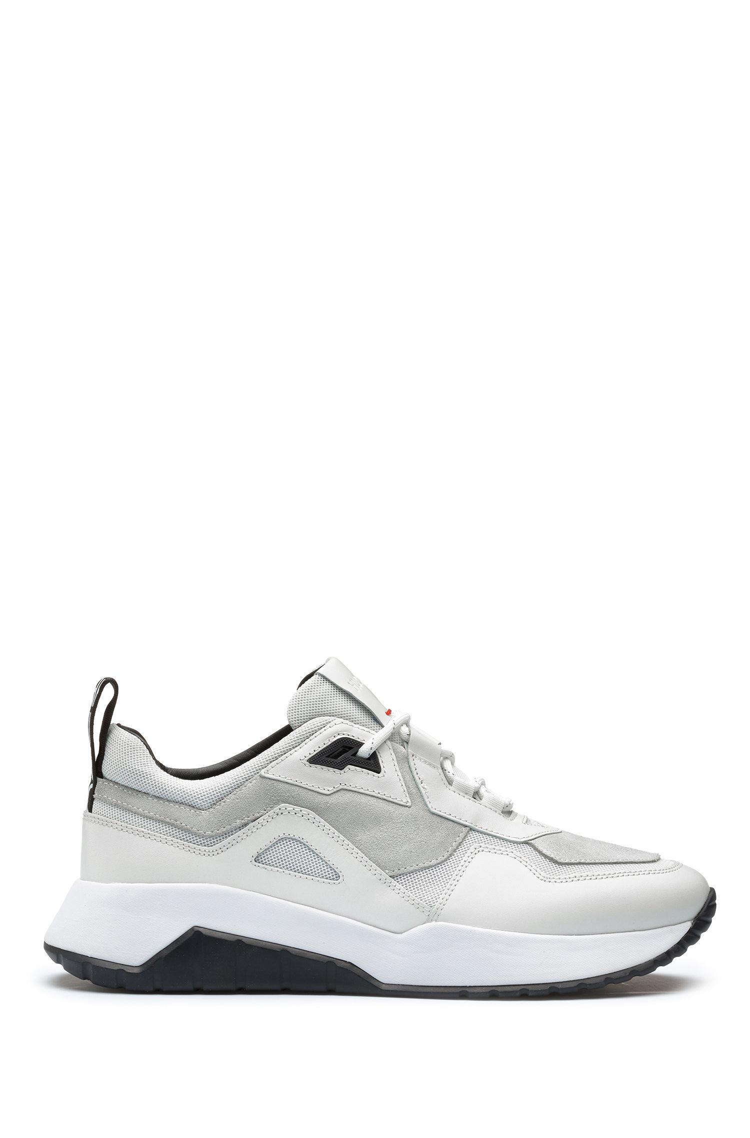 Mixed-material chunky trainers with logo loop tape, White