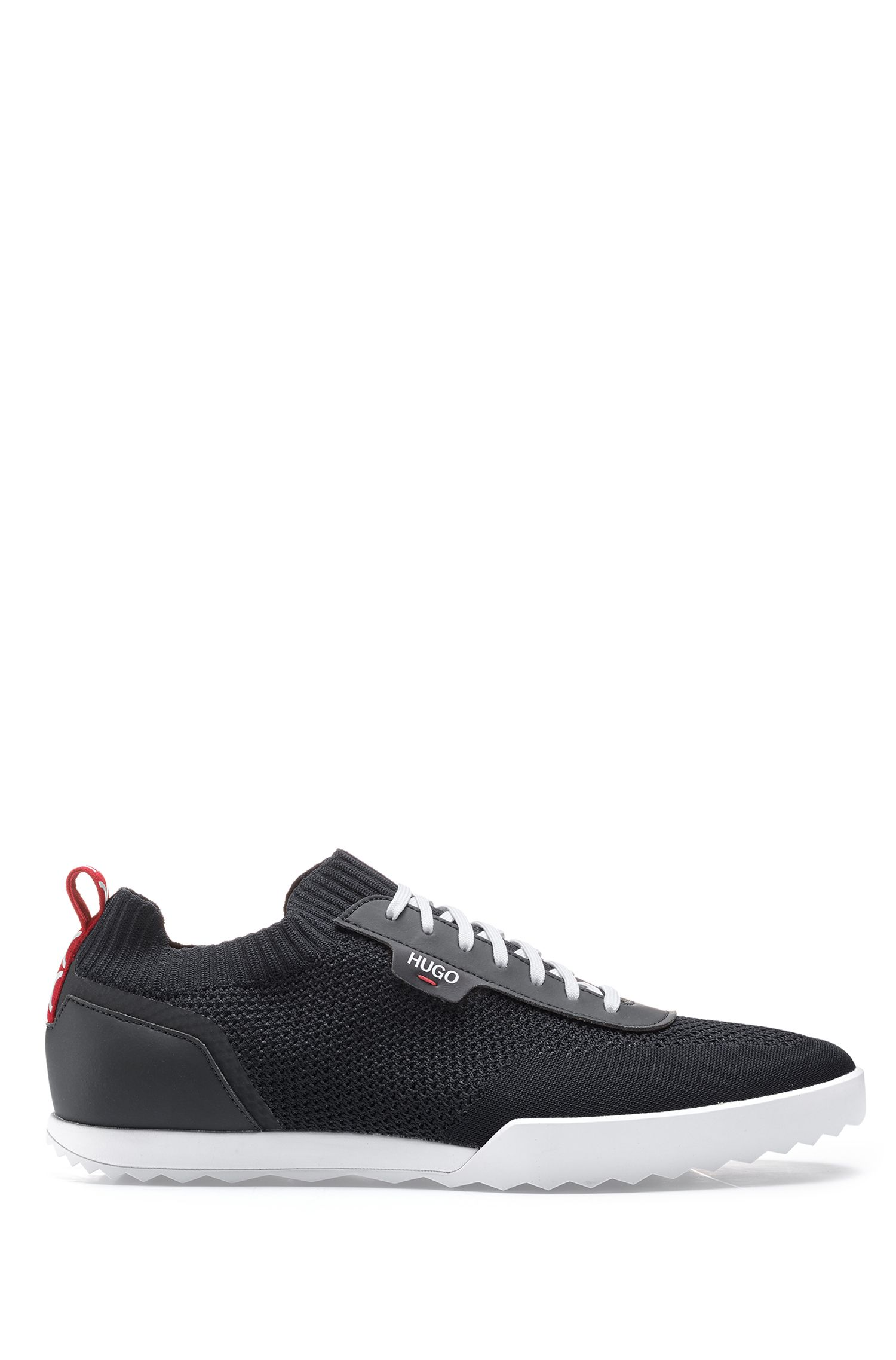 Low-profile trainers with laces and knitted sock, Black